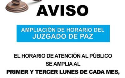 AMPLIACIÓN HORARIO JUZGADO DE PAZ