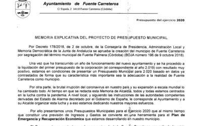 MEMORIA EXPLICATIVA DEL PROYECTO DE PRESUPUESTO MUNICIPAL DE 2020