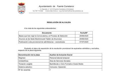 RESOLUCIÓN DEFINITIVA DE ASPIRANTES ADMITIDOS Y EXCLUIDOS AUXILIAR INCLUSION SOCIAL