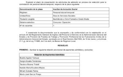 RESOLUCIÓN DE ADMITIDOS Y EXCLUIDOS PARA AUXILIAR DE INCLUSIÓN SOCIAL