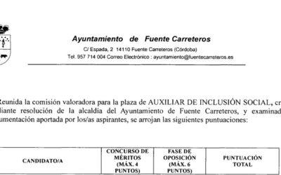 VALORACIONES DEL PROCESO SELECTIVO PARA AUXILIAR DE INCLUSIÓN SOCIAL